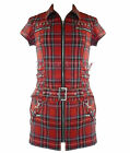 HEARTS & ROSES H&R punk TARTAN ZIP MINI DRESS RED