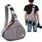 DSLR Camera Shoulder Cross Chest Bag Padded + Waist Belt Rain Cover Canon Nikon