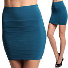 MOGAN High Waisted BANDAGE KNIT MINI SKIRT Ribbed Pull On Fitted Bodycon Short