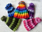 FAIR TRADE WOOL HIPPY BOHO SKATE SKI FLEECE LINED BEANIE RIBBED POM POM HAT