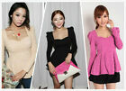 Fashion Womens Vintage Neck Puff long Sleeve Peplum Tops Slim Fit   T-shirt Blouse