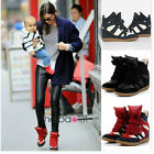 Classic Womens Velcro Strap High-TOP Sneakers Shoes/Ladys Ankle Wedge Boots