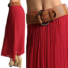 MOGAN Pleated MAXI LONG SKIRT with BELT Day to Night Elastic Waist Pull On Skirt