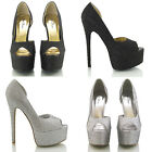 WOMENS PEEP TOE PLATFORM DIAMANTE LADIES PROM PARTY STILETTO HIGH HEEL SHOES 3-8