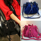 New Arrival Drawstring Suede+PU Leather Tassel Shoulder Handbag Bucket bag Purse