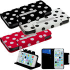 For Apple iPhone 5C Premium Leather Wallet Case Pouch Flip Cover Polka Dots