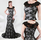 Sexy Lace Womens Long Dresses Black Maxi Formal Evening Party Gown Size 6-20 NEW