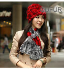 New Real Rabbit Fur Knitted Hat Winter Style Fashion Flower Rose Design Chapeau
