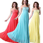 Strapless Pleated Formal Wedding Ball Gown Long Maxi Evening Bridesmaids Dresses