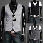 Multi Color Mens Slim Fit Fitted Waistcoats Business Suit Dress Vest Jacket Coat