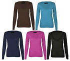 4A-WOMENS LADIES LONG SLEEVE PLAIN 'V' NECK TOP T-SHIRT-UK SIZE 8 - 22