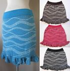NEW Metallic Bandage Knit Sweater Stretch Jacquard Short Mini Skirt