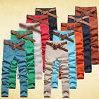 Men's Casual Candy Colors Skinny Jeans Pure Pencil Pants Stretch Demin Trousers