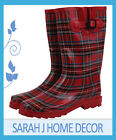 RED TARTAN CHECK GUMBOOTS Size 6 7 8 9 10 Wellies Ladies Rainboots Boots *New