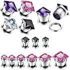 Pair Large Square Zircon CZ GEM Stainless Steel Screw Ear Plugs Hollow Tunnels