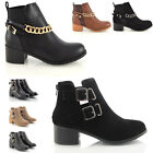 WOMENS CUT OUT LOW HEEL CHELSEA LADIES VINTAGE BUCKLE ANKLE BOOTS SHOES SIZE 3-8