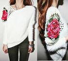 Women Long Sleeve Hollow Out Rose Flower O-Neck Sweater Knit Top Blouse Pullover