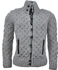 NEW Mens Jumper Knitted Cardigan Sweater Button Knitwear Grey Casual Winter AW13