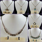 Alloy metal teardrop flower crab pendant earrings beaded necklace set