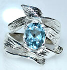 Blue Topaz 925 Sterling SILVER Ring Real Gemstone Designer style Solitaire Rings