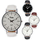 Fashion Mens Womens Simple Leather Band White Dial Quartz Bracelet Wrist Watch