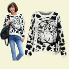 Women Loose Mohair Knit Thick Long Sleeve Tiger Head Pattern Sweater