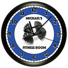 FITNESS ROOM WALL CLOCK PERSONALIZED WEIGHTS GYM WORKOUT CENTER EXERCISE