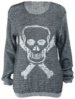 Ladies Knitted Skull Crossbones Long Sleeve Womens New Boyfriend Jumper Top 8-14