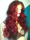 Full Silk Lace Wig Wigs 100% Human Indian Remy Remi Red #200/1 Body Wave Wavy