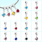 Pugster Heart Dangle Love Crystal Charm European Beads Fit Charm Bead Bracelet
