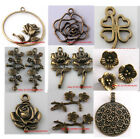 New  Flower/Feather Findings Charms Pendant Making Jewelry-Antique Bronze