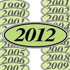 Chartreuse And Black Oval Year Stickers (multiple item shipping discount) EZ198C