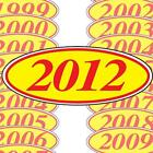 Red and Yellow Oval Year Stickers (multiple item shipping discount) EZ198R