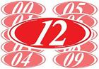 Red And White 2-digit Oval Year Stickers (multiple item shipping discount)