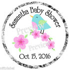 BLUE BIRD & FLOWERS BABY OR WEDDING SHOWER KISS LABELS  GLOSSY OR MATTE FINISH
