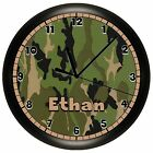 GREEN CAMOUFLAGE HUNTING WALL CLOCK PERSONALIZED HUNTER BEDROOM CAMO QUIET MOTOR