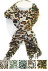 Womens Spring Fall Fashion Animal Leopard Cheetah Print Crinkle Fringe Scarf