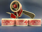 6, 12, 36, 72 ROLLS CAUTION PRINTED PACKING TAPE  66M X 48MM WITH FREE TAPE GUN