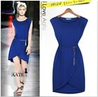 New Ladies Women Summer Round-neck Belted Split Hem Sleeveless Cotton Dress Hot