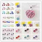 NEW HOT Genuine 12MM CZ Crystal Beads 925Silver chain Necklace/earrings Sets+Box