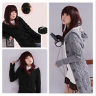 Women's Hooded Winter Cardigan Sweater Knitted Coat Knitwear with Hat Black/Grey