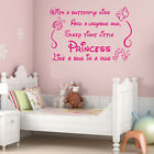 Princess Quote Lettering Saying Girl Baby Nursery Bedroom Wall Sticker Decal