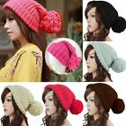 Unisex Women Winter Warm Slouch Knitted Cap Cuffed Beanie Crochet Ski Bobble Hat