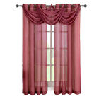 Burgundy Abri Grommet Crushed Sheer Single Window Curtain Panel