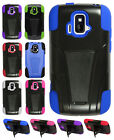 AT&T GoPhone ZTE Radiant Z740 Advanced Layer HYBRID KICKSTAND Rubber Case Cover
