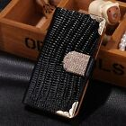 New Bling Leather Magnetic Flip Card Wallet Case Cover For Apple iPhone 5/5S/SE