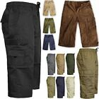 MENS ELASTICATED WAIST SUMMER COTTON SWIM BEACH CARGO COMBAT 3/4LONG SHORTS ZIP
