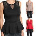 TheMogan Mesh And Stud Detail Sleeveless Peplum Tank Top