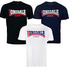 "Lonsdale ""Two Tone"" 2-Tone T-Shirt Boxing Classic Logo Black Blue White XS-XXL"