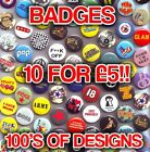 Retro Button Badges - Cool Designs Vintage Mixed Loads Of Designs Available